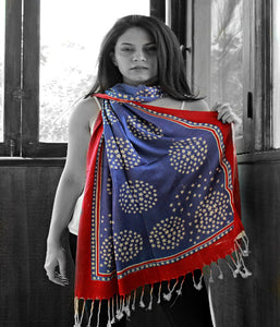 Betsy Ross inspired Scarf/Shawl  with Tassels - Multipurpose Travel Wrap - Koozi Life