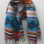 Jacquard Shawl - Traditional Indian Shawl/Scarf with Aztec Pattern, Tribal Art Inspired Design - Koozi Life