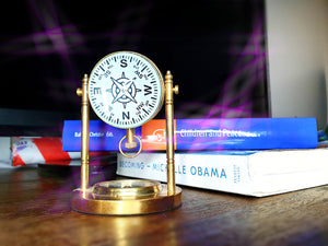 Nautical Desk Clock -  Vintage Table Clock with Compass - Koozi Life