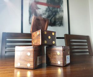 Wooden Dice Box - Traditional Hard Maple Dice Set with Golden Pip Spots - Koozi Life