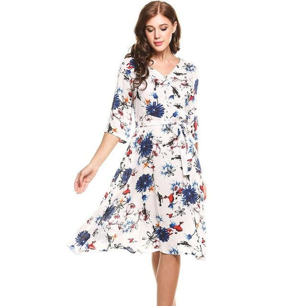 Royal Floral Midi Dress