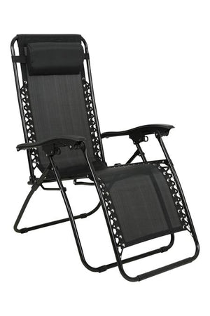 Reclining Black Textilene Garden Relaxation Sun Lounger Chair Camping, Beach