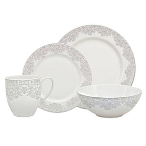 Denby Filigree Silver 16 Piece Dinner Set