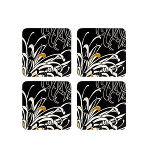 Denby Monsoon Chrysanthemum Charcoal 4 X Coasters