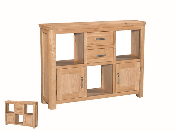 Curved Oak Low Display Unit