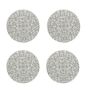 Denby Monsoon Filigree Silver Round Coaster X4