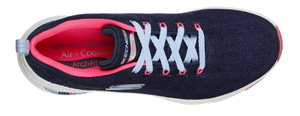 Skechers ladies trainers Arch fit comfy wave in Navy/hotpink