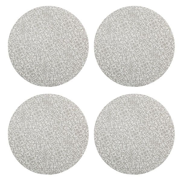 Denby Monsoon Filigree Silver Round Placemats 4 Pack