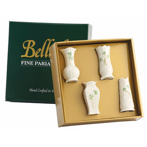 Belleek Shamrock Set of Four Mini Vases 4""