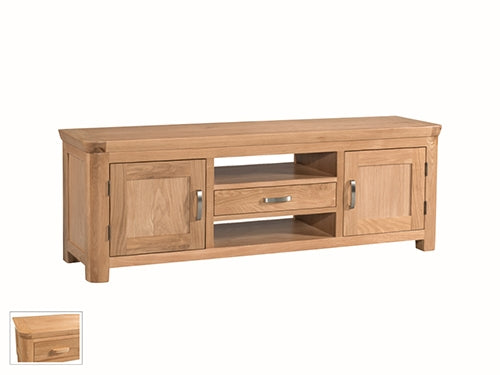 Curved Oak Wide TV Unit