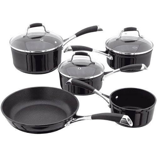 Stellar 3000 Black 5 Piece Non Stick Set S3C1B, Induction Compatible