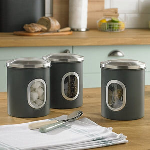 Denby Set Of 3 Canisters Grey