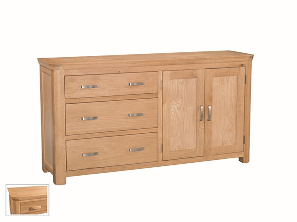 Curved Oak Large Sideboard