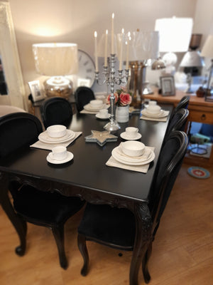 Display Model SALE black table and 6 padded chairs