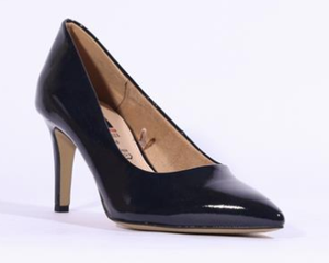 S Oliver ladies court shoe 22403-24 navy patent with pointed toe