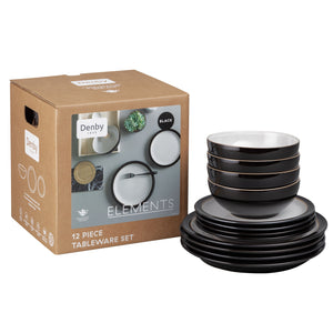 Denby Elements 12 Piece Dinner Set Black