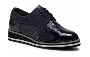 Caprice ladies shoe 23300-25 navy, brogue style lace up