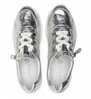Caprice ladies trainers 23704-26 silver metal, low wedge