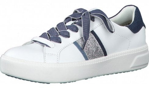 Tamaris ladies trainers 23750-26 white jeans, lace up sneaker with glitter panel