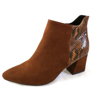 Marco tozzi ladies boots 25020-25 cognac combination, block heel snake/suede