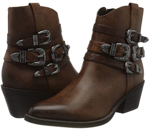 Marco Tozzi ladies ankle boots 25304-35 in chestnut, cowboy heel with buckles