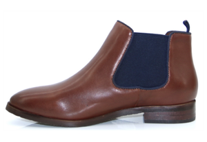 Caprice ladies ankle boots 25327-25 in cognac and ocean, Chelsea style flat