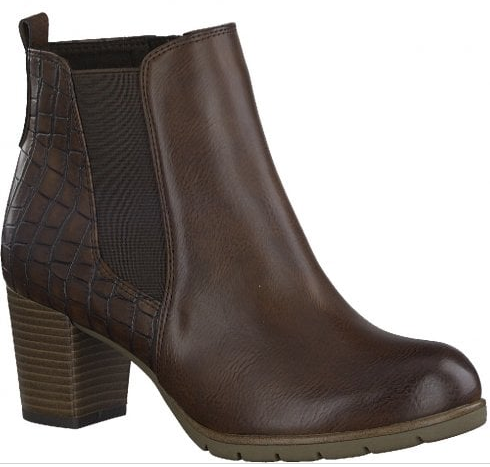 Marco Tozzi ladies ankle boots 25358-25 chestnut, med block heel
