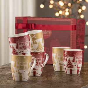 AYNSLEY CHRISTMAS IN THE COUNTRY SET OF 6 MUGS GIFT BOX SET - Jacksons of Saintfield