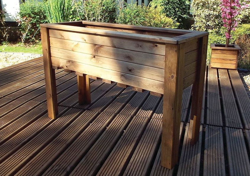 Charles Taylor Hand Made Rustic Wooden Large Raised Garden Trough/Flower Bed Planter