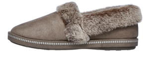 SKECHERS SLIPPERS COZY CAMPFIRE TEAM TOASTY - DK TAUPE / CHESTNUT