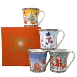 AYNSLEY CLASSIC CHRISTMAS MUGS GIFT BOXED SET OF 4
