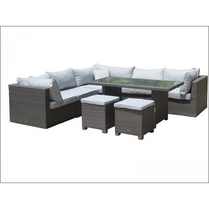 Marlow Corner Lounge Table & 2 Stools & Cushions