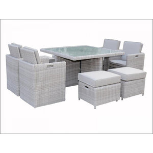 Seychelles Deluxe Cube Set 4 x Chair 4 x Stool and Table