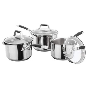 Stellar 5000 3 Piece S5A1D Induction Draining Saucepan Set Stainless Steel