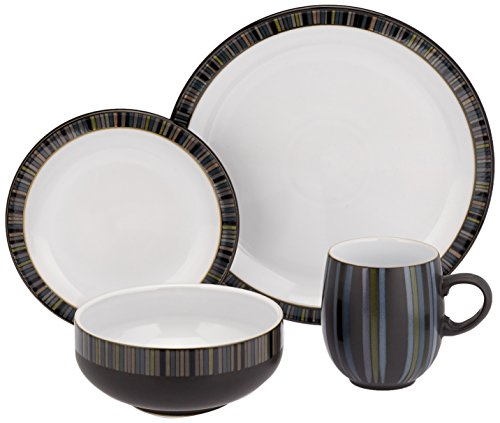 Denby 16 Piece Jet Stripes Dinner Set Black