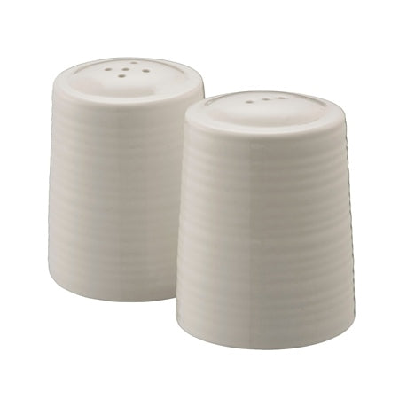 BELLEEK LIVING RIPPLE SALT AND PEPPER SHAKERS