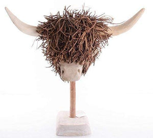 Voyage Maison Highland Cow Wooden Sculpture With Stand