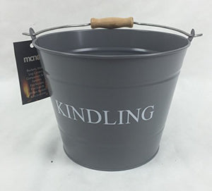 Manor Kindling Bucket with Wooden Handle 23cm Grey Finish - Jacksons of Saintfield