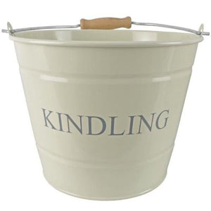 Manor Kindling Bucket with Wooden Handle Cream Finish 22cm - Jacksons of Saintfield