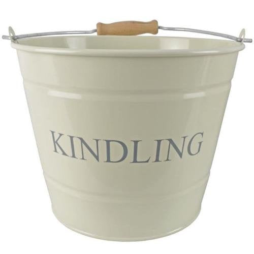 Manor Kindling Bucket with Wooden Handle Cream Finish 22cm