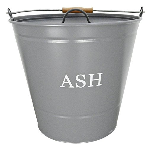 Manor Traditional Metal Ash Storage Bucket with Wooden Handle