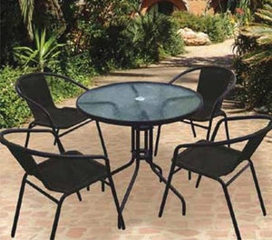 Rattan 5pce Set Chairs & Table Black