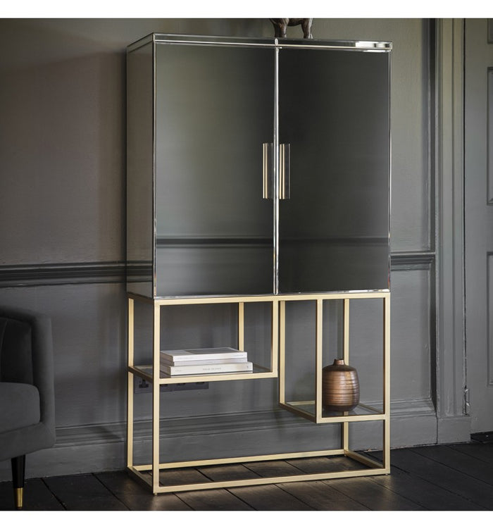 Large Mirrored Drinks Cabinet Champagne, Cocktail