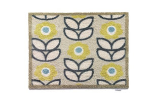 HUG RUG Home Kitchen Home 17 Eco-Genics Friendly Barrier Mat, Lime Flowers  65 x 85cm