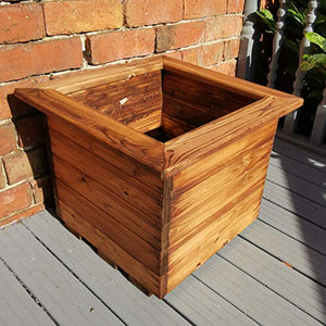 Charles Taylor Hand Made 46cm x 46cm Chunky Rustic Wooden Garden Large Square Planter