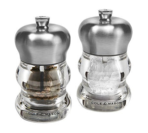 Cole & Mason H307098P Precision Ascot Salt and Pepper Gift Set, Transparent/Silver