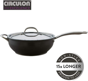 Circulon Excellence 28 cm Chef's Pan, High-Quality Non-Stick All-Purpose Pan, Dishwasher-Safe Induction Pan, Circulon Pan with Lid and Stainless Steel Handles