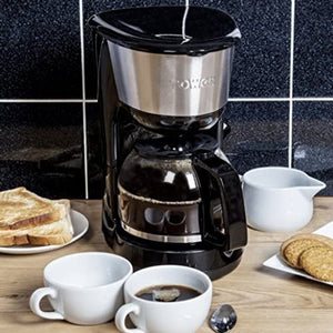 Tower 10 Cup Coffee Maker, Anti-Drip Feature, Stainless Steel, 1000 W 1.25 Litre, Black