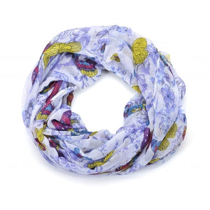 Butterfly and Floral Print Snood Scarf