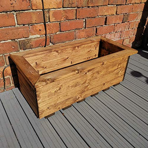 Charles Taylor Hand Made 72cm x 40cm Rustic Wooden Medium Garden Trough/Flower Bed Planter